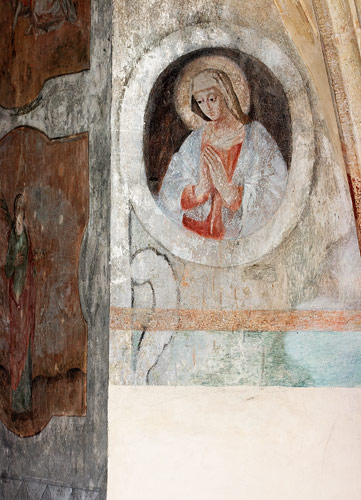 Fresco on a wall of a chapter house chamber in Tyniec abbey