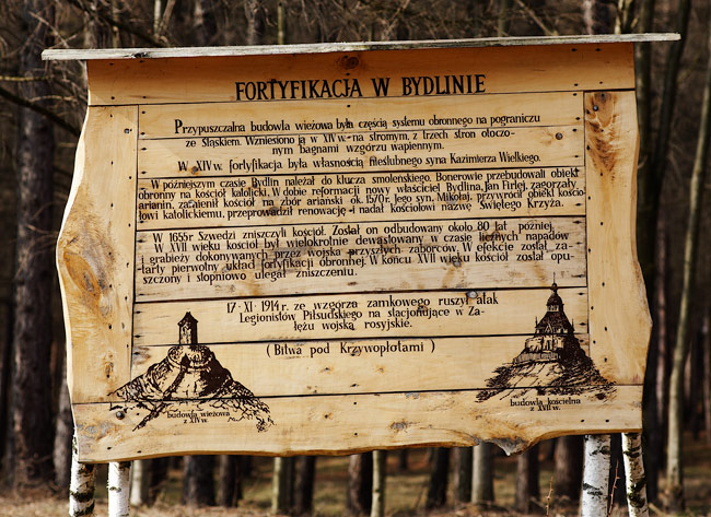 Information plaque near the ruins of Bydlin castle