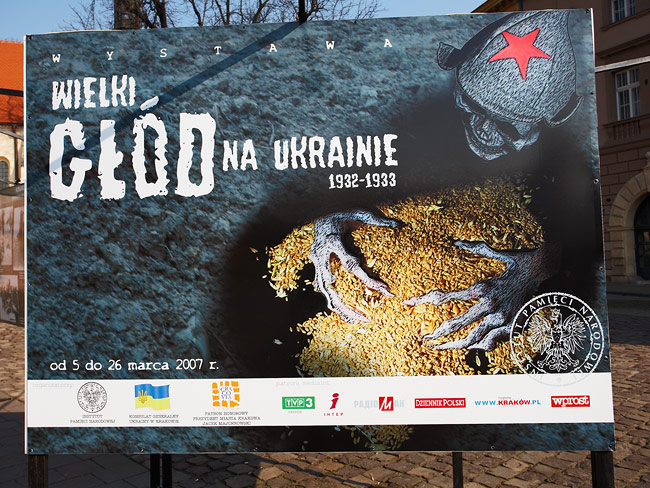 """Poster of the """"Great famine in Ukraine 1932-1933"""" exhibition"""