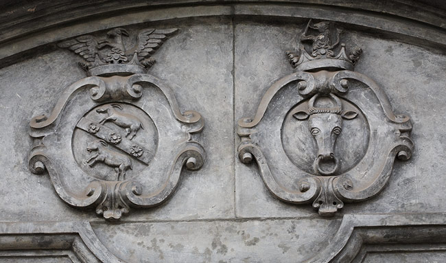 Church portal - coats of arms of the founders' families