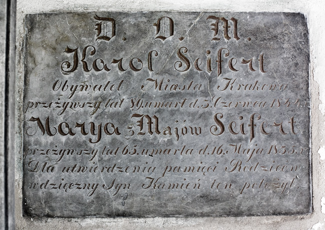 An epitaph inside the Seifert family tomb at the Rakowice Cemetery in Kraków, dated 1844