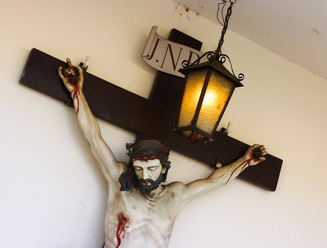 Crucified Christ on the wall of the church in Skawina
