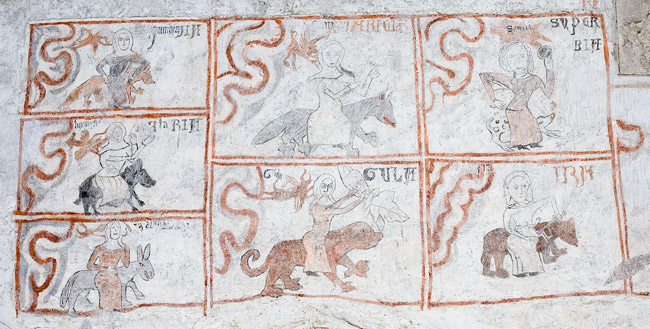 Gothic polychromies in the church in Bejsce: seven deadly sins