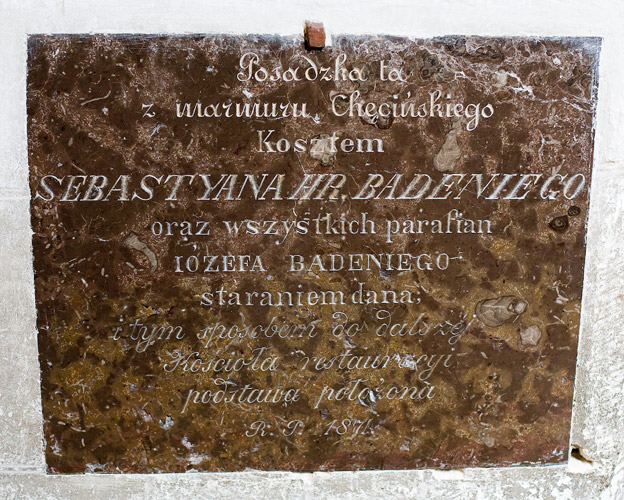A plaque in the church in Bejsce commemorating laying of a new floor in 1871