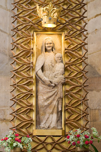 The statue of Łokietek Madonna in the chruch in Wiślica