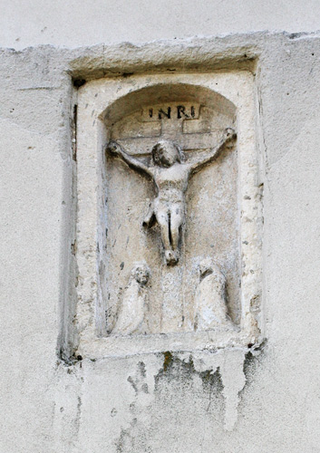 A crucifix on the wall of the church in Chotel Czerwony