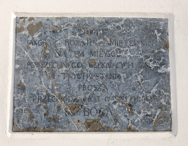 Church in Nowy Wiśnicz: an epitaph on a wall