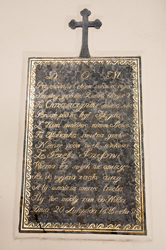 Church in Nowy Wiśnicz: an epitaph from 1826