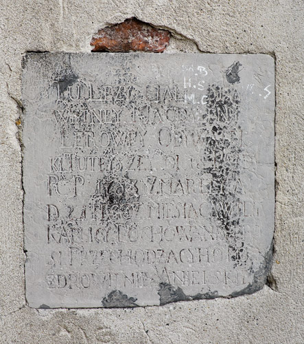 An epitaph on the wall of St. Benedict's church in Kraków