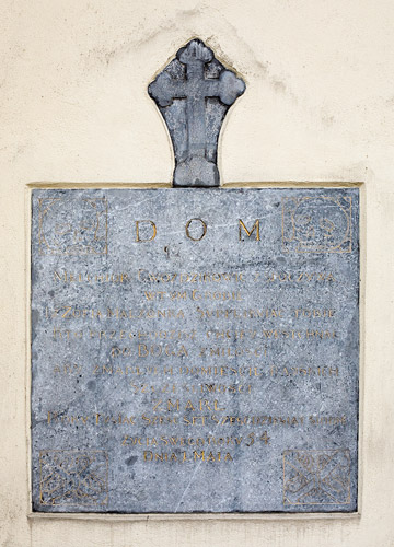 One of the old epitaphs on the wall of St. Florian's church in Kraków