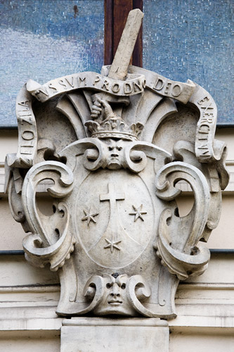 The Carmelite crest on the facade of the St. Lazarus' church in Kraków