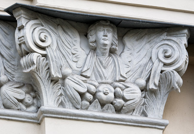 A detail from the facade of the St. Lazarus' church in Kraków