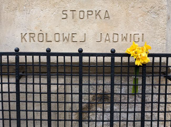 A legendary footprint of Queen Jadwiga on the wall of the Carmelite church in Kraków