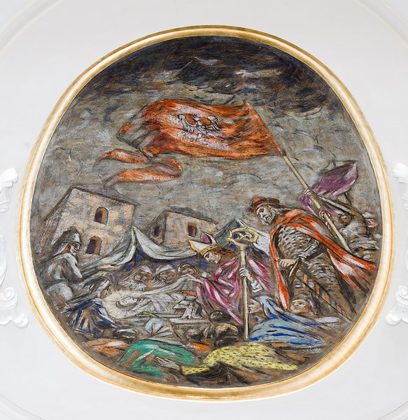 Fragment of the polychromy on the ceiling of St. Florian's church in Kraków