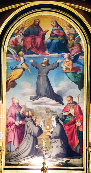 """Glory of St. Francis"" - painting by Gerhard Flatz in the main altar of the Franciscan church in Kraków"