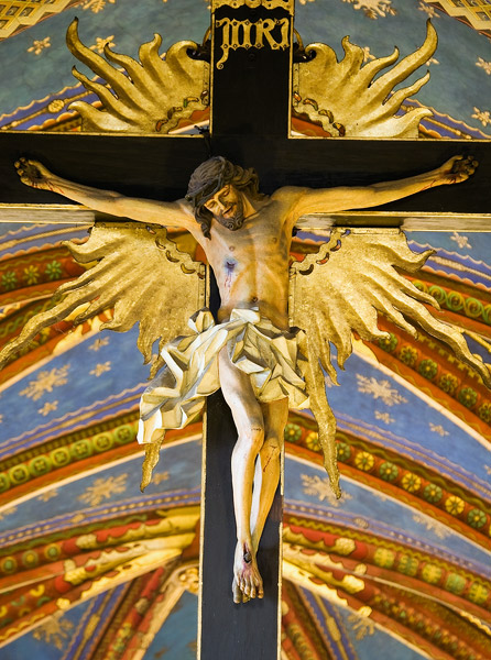 The 19th century crucifix in the Franciscan church in Kraków