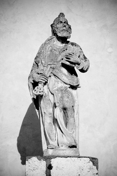 Statue of St. Peter on the facade of the abbey church in Tyniec