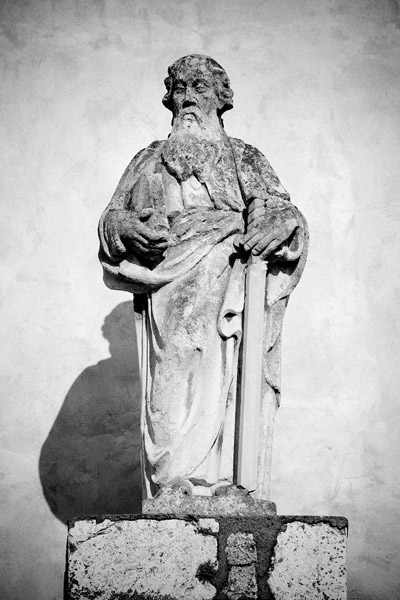 Statue of St. Paul on the facade of the abbey church in Tyniec