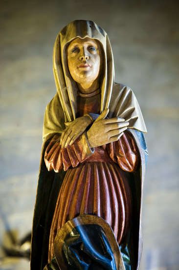 Church of the Nativity of the Blessed Virgin Mary in Rajbrot: 16th century sculpture of Holy Mary