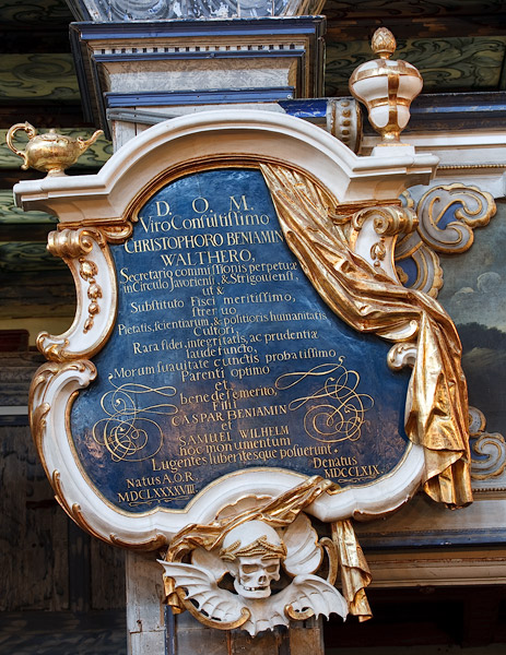 Church of Peace in Jawor: epitaph of Christopher Beniamin Walther (1698-1769)
