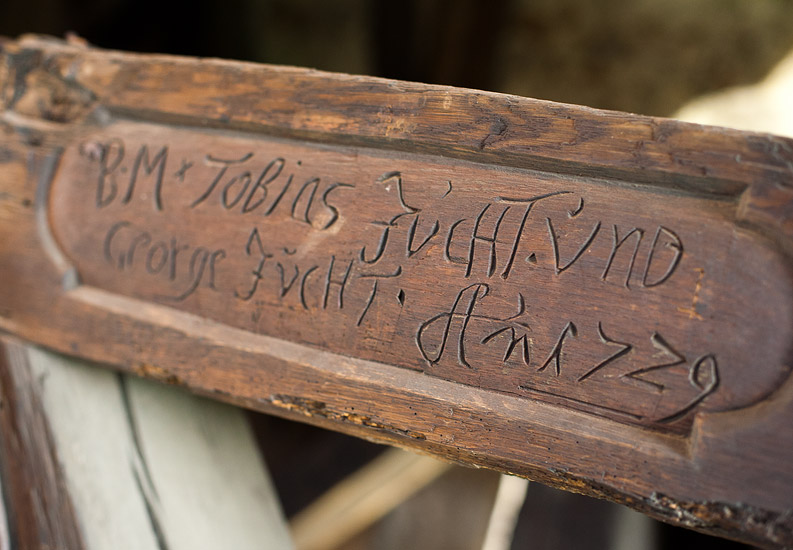 A 1729 inscription inside the tower of the church of St. John and St. Catherine in Świerzawa
