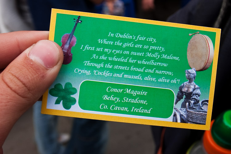 By the statue of Molly Malone