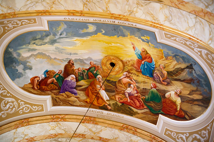 Church of the Presentation of the Blessed Virgin Mary in Wadowice: painting on the ceiling inspired by encyclicals of Pope John Paul II