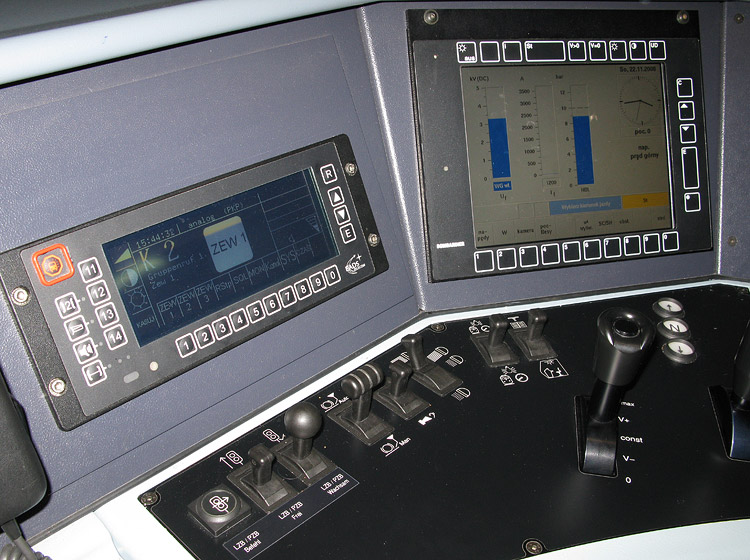 EU43 electric locomotive: details of a cockpit