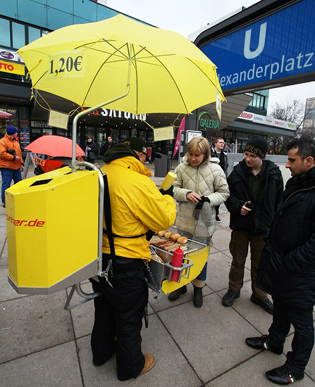 Selling hotdogs on the Alexanderplatz