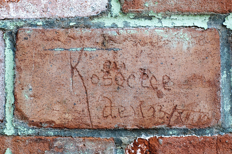 Signatures of Austro-Hungarian soldiers on a brick wall in Fort 50 1/2 W Kosocice