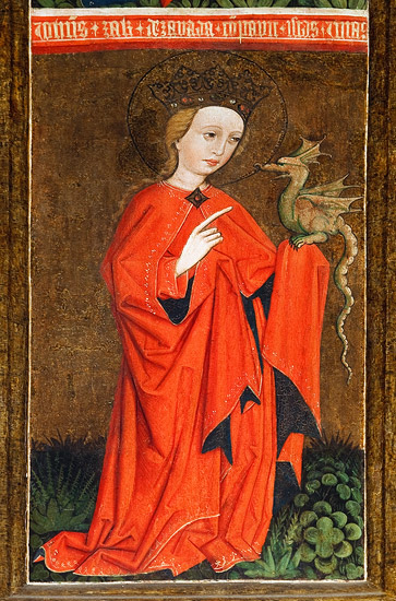 The church of the Nativity of the Blessed Virgin Mary in Racławice: Saint Margaret with a dragon on a Gothic triptych (early 16th century)