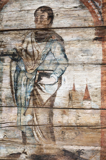 A fragment of a wall painting in St. Martin's church in Grywałd