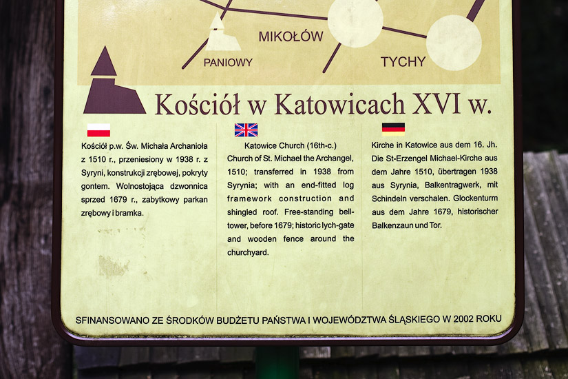 The information plaque at St. Michael's church in Katowice
