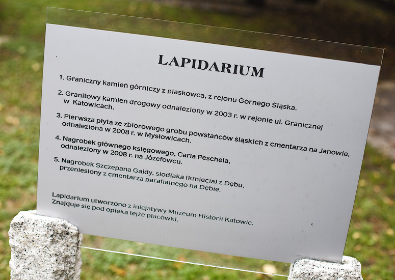 The lapidary near St. Michael's church in Katowice