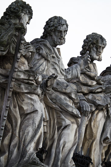 Stone apostles in front of St. Peter's and St. Paul's church in Kraków
