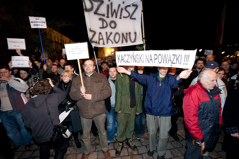 Protests by the Archbishop's Palace in Kraków