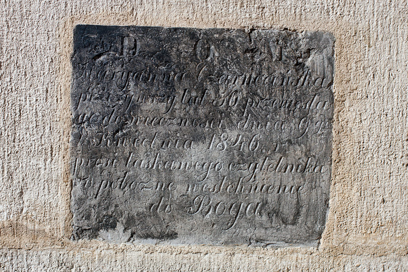 An epitaph (1846) on the wall of St. Peter's and St. Paul's Church