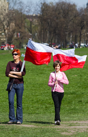 Błonia meadow in Kraków on the day of the Polish presidential couple's funeral