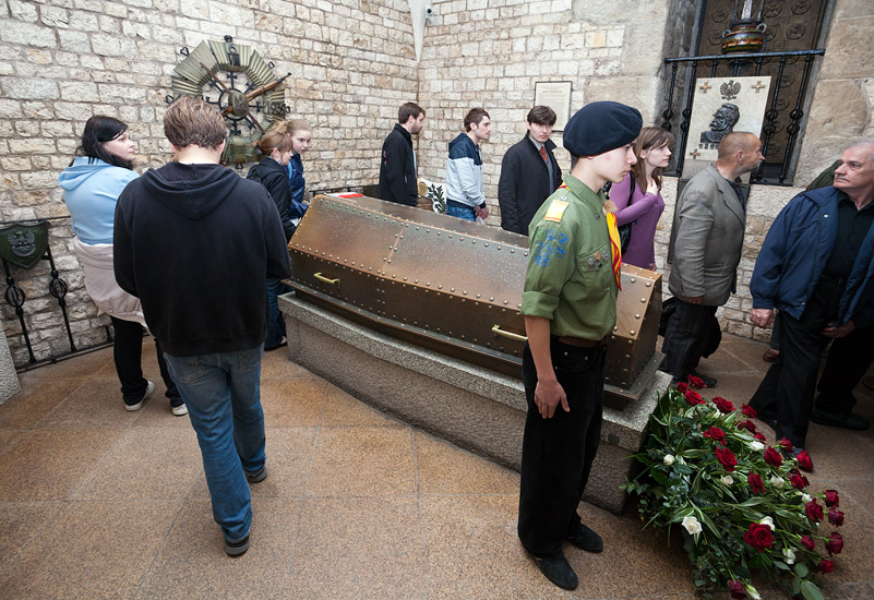Marshal Piłsudski's coffin in the Silver Bells' Tower Crypt of the Wawel Cathedral