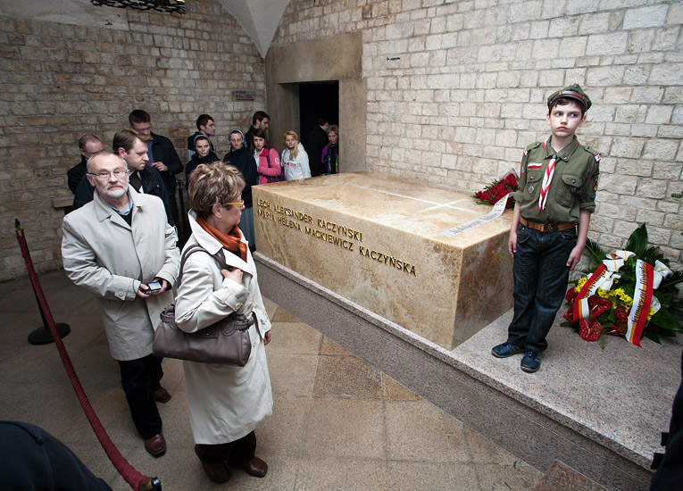 The onyx sarcophagus of the presidential couple in the Silver Bells' Tower Crypt of the Wawel Cathedral