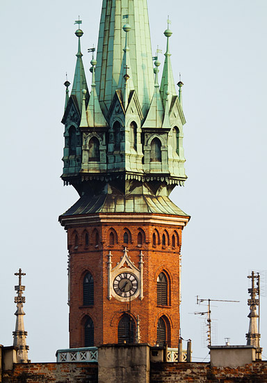 St. Joseph's church tower seen from the other side of the Vistula river