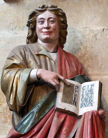 Inside the Meissen Cathedral: a statue of St. John in the chancel (cca 1260)