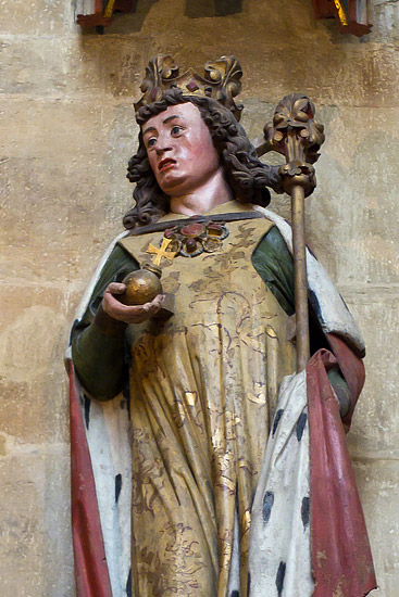 Inside the Meissen Cathedral: a statue of Emperor Otto I in the chancel (cca 1260)