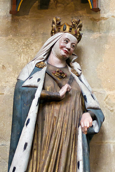 Inside the Meissen Cathedral: a statue of St. Adelheid in the chancel (cca 1260)