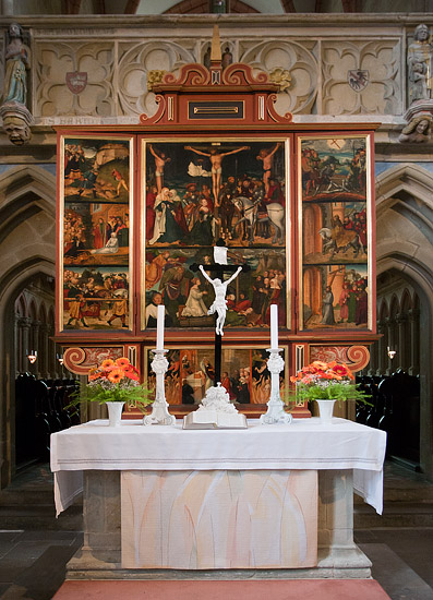 Inside the Meissen Cathedral: the altar in the nave with paintings from the workshop of Lucas Cranach the Elder