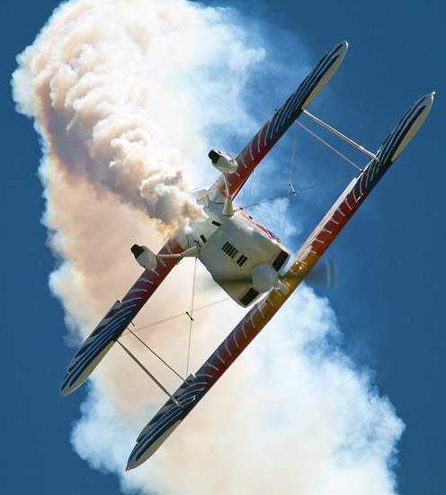 7th Air Show in Kraków: Marek Szufa performing in his new Christen Eagle II plane