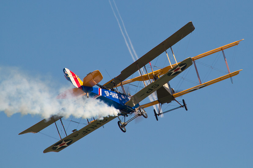 7th Air Show in Kraków: two Curtiss Jenny replicas