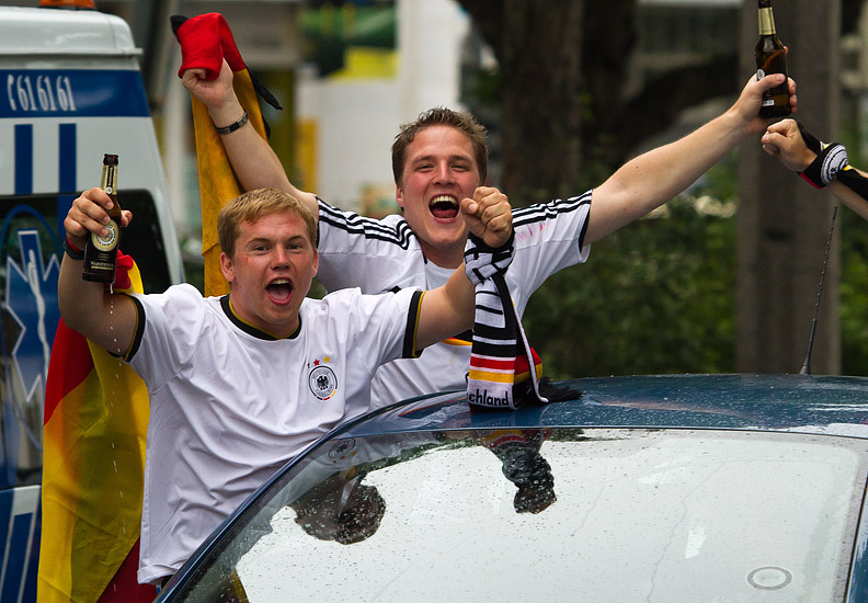 Dortmund: German football fans celebrating their team's victory over Argentina