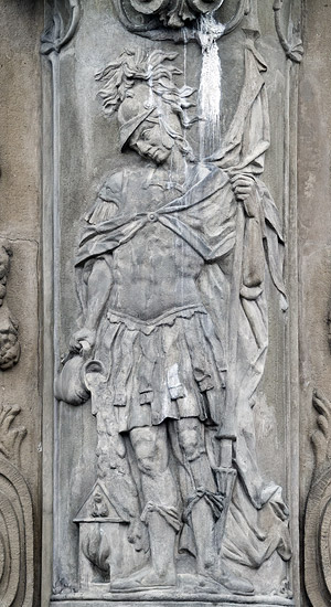 A relief of St. Florian on St. Mary's column on the main square of Žilina