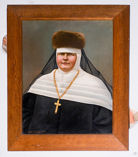 The abbess of the Benedictine monastery in Staniątki - a portrait on the corridor wall